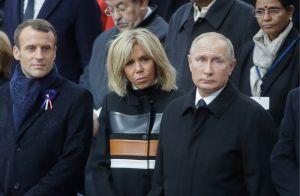 Brigitte Macron : Manteau fashion sous la pluie auprès d'Emmanuel et Poutine