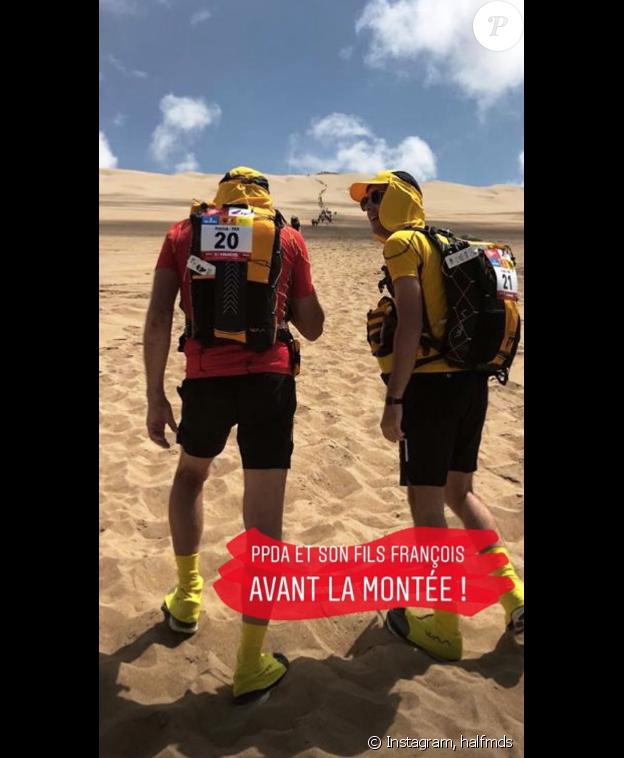 Patrick Poivre d'Arvor et son fils François au premier jour du Half Marathon des Sables, le 2 décembre 2018, au Pérou.