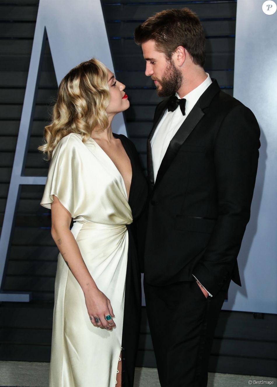 Miley Cyrus et son compagnon Liam Hemsworth à la soirée Vanity Fair Oscar  au Wallis Annenberg