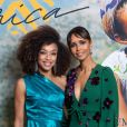 """Exclusif - Ophély Mézino (première dauphine de Miss France 2019) et Sonia Rolland (Présidente de Maïsha Africa) - Dîner de gala au profit de l'association """"Maïsha Africa"""" de Sonia Rolland, qui vient en aide aux enfants du Rwanda, au Pavillon Gabriel, à Paris, le 17 décembre 2018. En vue de soutenir une partie du projet en faveur de la réhabilitation du service de néonatalogie de l'hôpital de Musanze au Rwanda, le gala a été organisé avec le précieux parrainage de C.Descalzi-Pereira, présidente de la Fondation Congo Kitoko, et de Céline Brucker, directrice générale de L'Oréal Grand Public France. Près de 125 000 euros de dons ont été récoltés pendant la soirée, organisée en partenariat avec la Fondation Congo Kitoko, Mixa et LVMH ainsi que la contribution du magazine Infrarouge et de la maison de Champagne Delarocque. © Gorassini-Moreau/Bestimage"""