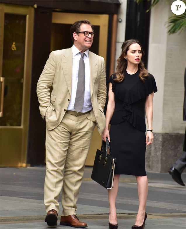 "Michael Weatherly et Eliza Dushku sur le tournage de la série télé "" Bull "" in New York Le 29 avril 2017"