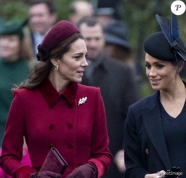 Catherine Kate Middleton, la duchesse de Cambridge et Meghan Markle, la duchesse de Sussex enceinte - La famille royale britannique se rend à la messe de Noël à l'église Sainte-Marie-Madeleine à Sandringham, le 25 décembre 2018.