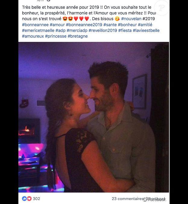 """Emeric et Maëlle (""""L'amour est dans le pré"""") sont amoureux. Ils prennent la pose pour le 31 décembre 2018."""