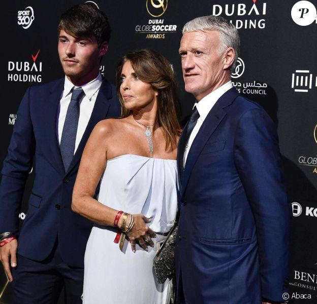 Dylan, Claude et Didier Deschamps lors de la 10e édition des Dubai Globe Soccer Awards le 3 janvier 2019.