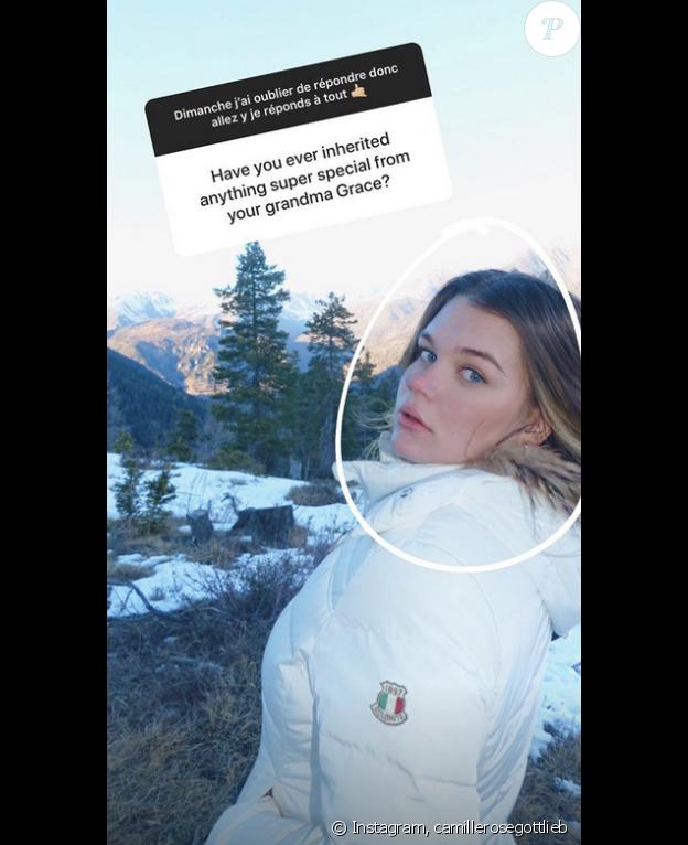 Camille Gottlieb répond aux questions de ses abonnés Instagram, le 8 janvier 2019.