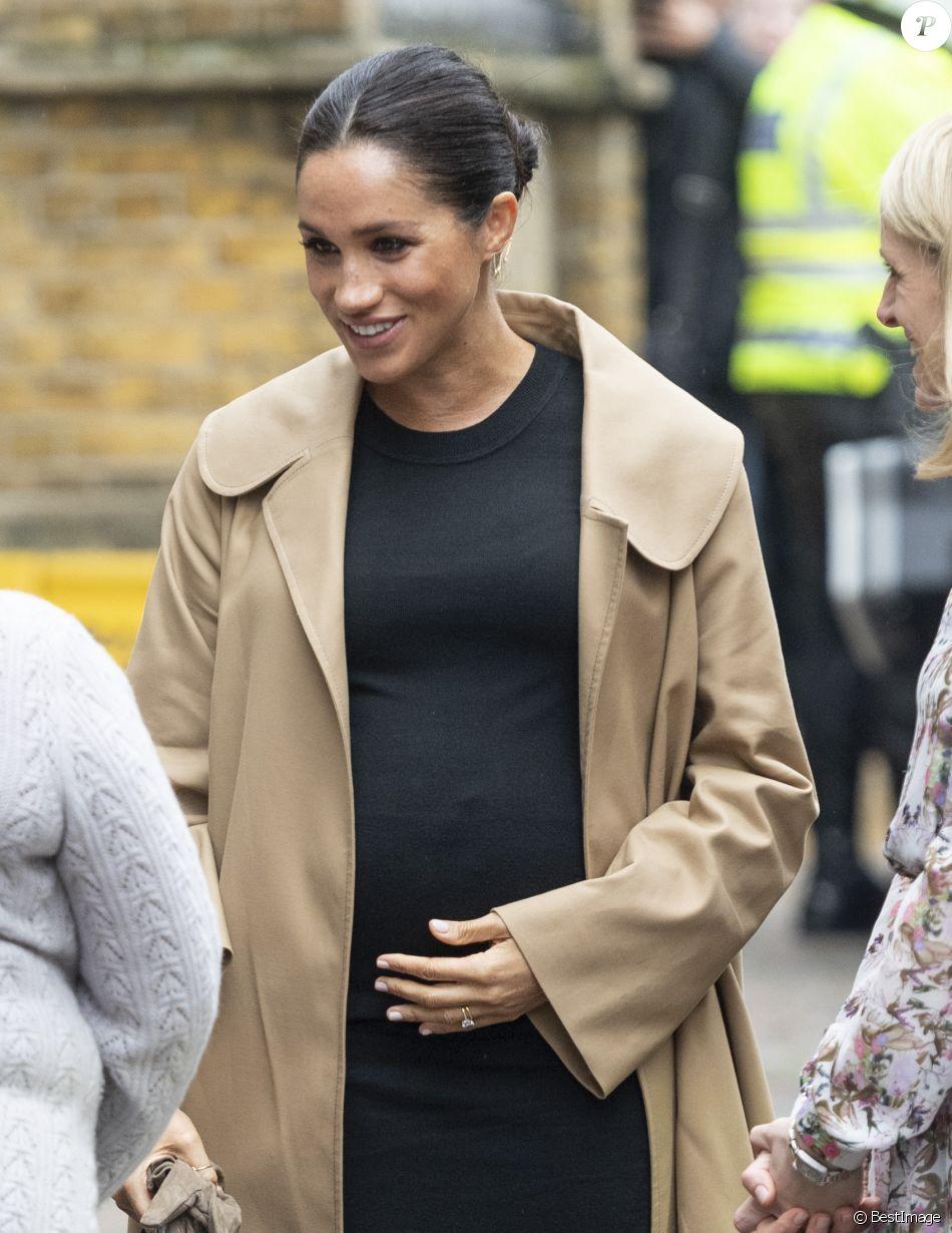 Meghan Markle, duchesse de Sussex, enceinte, en visite chez Smart Works, à Londres le 10 janvier 2019.