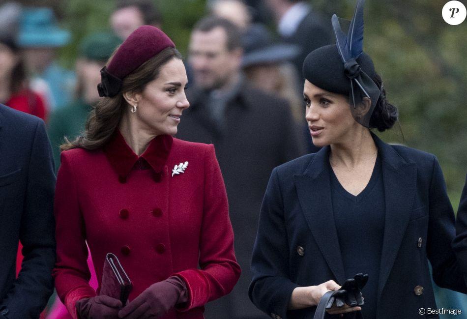 Kate Middleton, duchesse de Cambridge, Meghan Markle, duchesse de Sussex - La famille royale assiste à la messe de Noël à Sandringham le 25 décembre 2018.