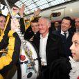 Christophe Beaugrand, Didier Deschamps et Christian Estrosi, le maire de Nice, durant le départ du train des Pièces Jaunes à la gare de Nice le 19 janvier 2019. © Bruno Bebert