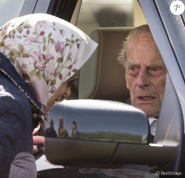 La reine Elisabeth II d'Angleterre et le prince Philip, duc d'Edimbourg, au Royal Windsor Horse Show a Windsor, le 11 mai 2018.