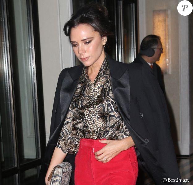 Victoria et D. Beckham et leur fils B. Beckham et sa compagne H. Cross sortent de la soirée Reebok dans le quartier de East Side à New York, le 22 janvier 2019.