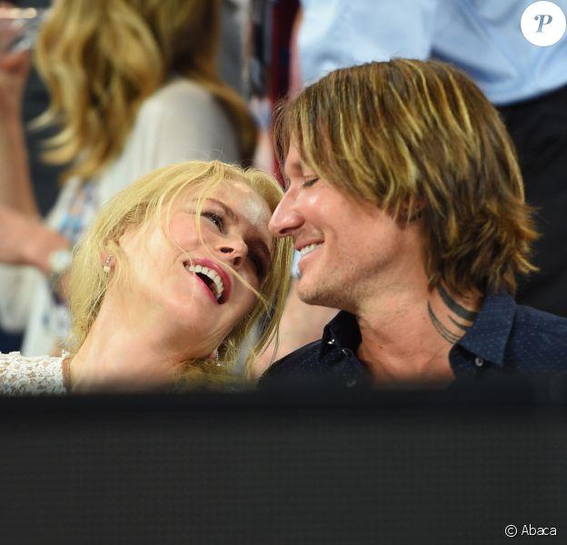 Nicole Kidman et son mari Keith Urban lors de la demi-finale femmes de l'Open d'Australie à Melbourne, le 24 janvier 2019.