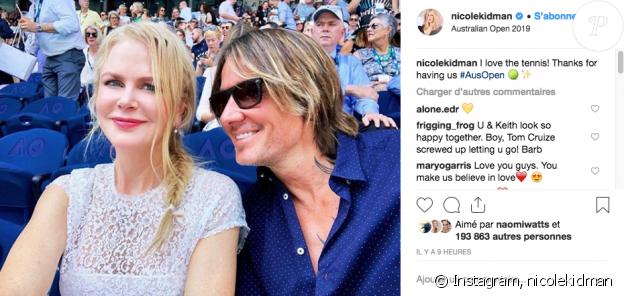 Nicole Kidman et son mari Keith Urban à l'Open d'Australie le 24 janvier 2019.