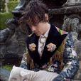 Harry Styles pose pour la nouvelle collection de Gucci à Rome.