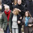 Benjamin Legrand (Frère de Michel Legrand), Eugénie Angot (Fille de Michel Legrand) et Dominique Rageys (fille aînée de Michel Legrand) lors des obsèques de Michel Legrand en la cathédrale orthodoxe Saint-Alexandre-Nevsky à Paris, le 1er février 2019.