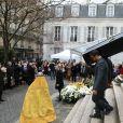Sorties des obsèques de Michel Legrand en la cathédrale orthodoxe Saint-Alexandre-Nevsky à Paris le 1er février 2019.