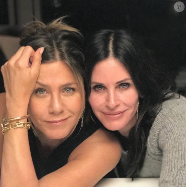 Courteney Cox a souhaité un joyeux anniversaire (50 ans) à son amie Jennifer Aniston. Février 2019.