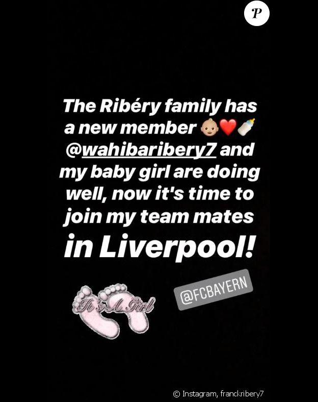 Franck Ribéry confirme la naissance de son cinquième enfant, une fille, sur Instagram, le 18 février 2019.