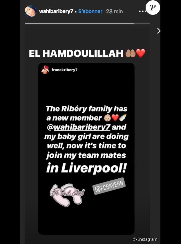 Story Instagram de Wahiba Ribéry, femme de Franck, suite à la naissance de leur cinquième enfant, le 18 février 2019.