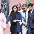 """Le prince Harry, duc de Sussex, et Meghan Markle, duchesse de Sussex, enceinte, visitent le """"Lycée Qualifiant Grand Atlas"""" dans le cadre de leur voyage officiel au Maroc, le 24 février 2019.  The Duke and Duchess visit the local Secondary School meeting students and teachers. Morocco, February 24th, 2019.24/02/2019 - Asni"""