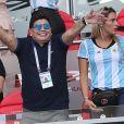 Diego Maradona et sa compagne Rocio Oliva - Célébrités dans les tribunes opposant la France à l'Argentine lors des 8ème de finale de la Coupe du monde à Kazan en Russie le 30 juin 2018 © Cyril Moreau/Bestimage