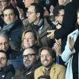 Camille Combal, Ophelie Meunier et son mari Mathieu Vergne dans les tribunes du parc des Princes lors du match de football de ligue 1, opposant le Paris Saint-Germain (PSG) contre l'Olympique de Marseille (OM) à Paris, France, le 17 mars 2019. Le PSG a gagné 3-1.