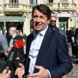 Exclusif - Christian Estrosi, le maire de Nice, est sur le marché de la Libération où l'activité n'a pas du tout été touchée par les manifestants, puis il s'est rendu au Centre de Supervision Urbain durant l'acte 19 des Gilets Jaunes à Nice, le 23 mars 2019. © Bruno Bebert / Bestimage