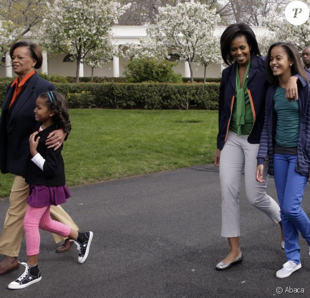Michelle Obama avec ses filles Sasha et Malia