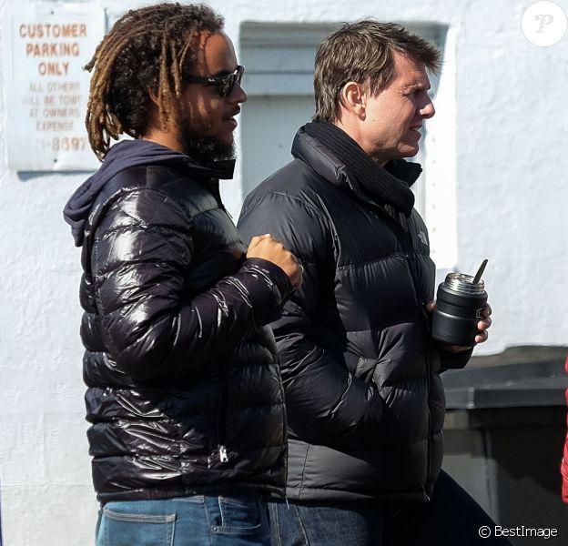 """Exclusif - Connor Cruise vient rendre visite à son père Tom Cruise sur le tournage du film """"Jack Reacher: Never Go Back"""" à la Nouvelle-Orléans, le 20 janvier 2016."""