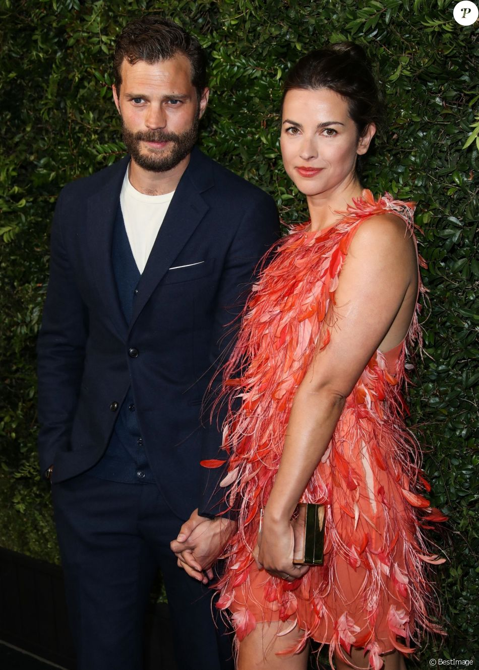 "Jamie Dornan et sa femme Amelia Warner lors du dîner ""Chanel and Charles Finch Pre-Oscar Awards"" au restaurant Madeo à Los Angeles, le 3 mars 2018."