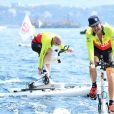 Pierre Casiraghi lors du Water Bike Challenge, au profit de la Fondation princesse Charlene de Monaco au départ du Yacht Club de Monaco le 17 juin 2018. © Bruno Bebert / Bestimage