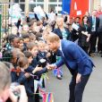 Le prince Harry, duc de Sussex, arrive à l'école primaire catholique Saint Vincent à Acton près de Londres le 20 mars 2019.