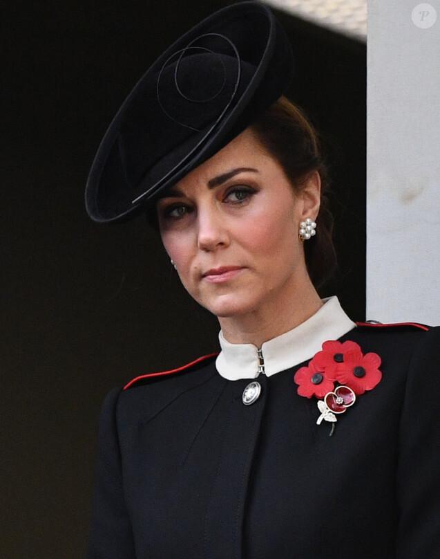 Catherine (Kate) Middleton, duchesse de Cambridge lors de la cérémonie du centenaire de l'armistice du 11 novembre 1918 au palais de Whitehall à Londres, Royaume Uni, le 11 novembre 2018.