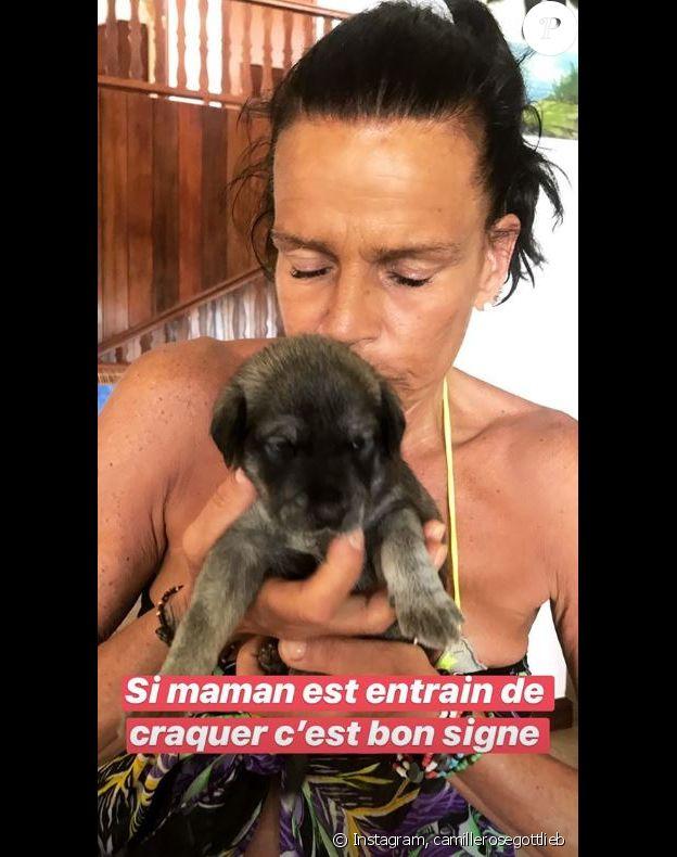 Camille Gottlieg publie une photo de sa maman Stéphanie de Monaco en vacances avec elle à l'île Maurice. Instagram, le 15 avril 2018.
