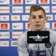 Lucas Digne en conférence de presse au Camps des Loges avant le match Lille-Psg à Saint-Germain-en-Laye le 2 décembre 2014.