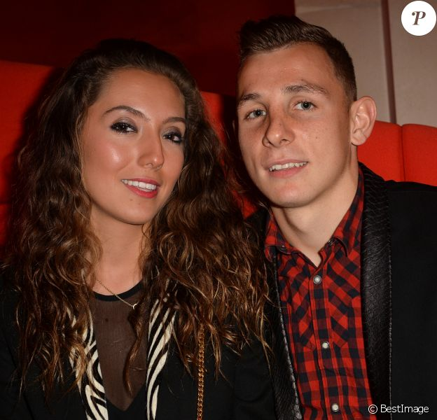 """Exclusif - Lucas Digne (PSG) et sa compagne Tiziri - Soirée de lancement du jeu vidéo """" FIFA 2015 """" à l'Opéra Garnier Restaurant à Paris le 22 septembre 2014."""