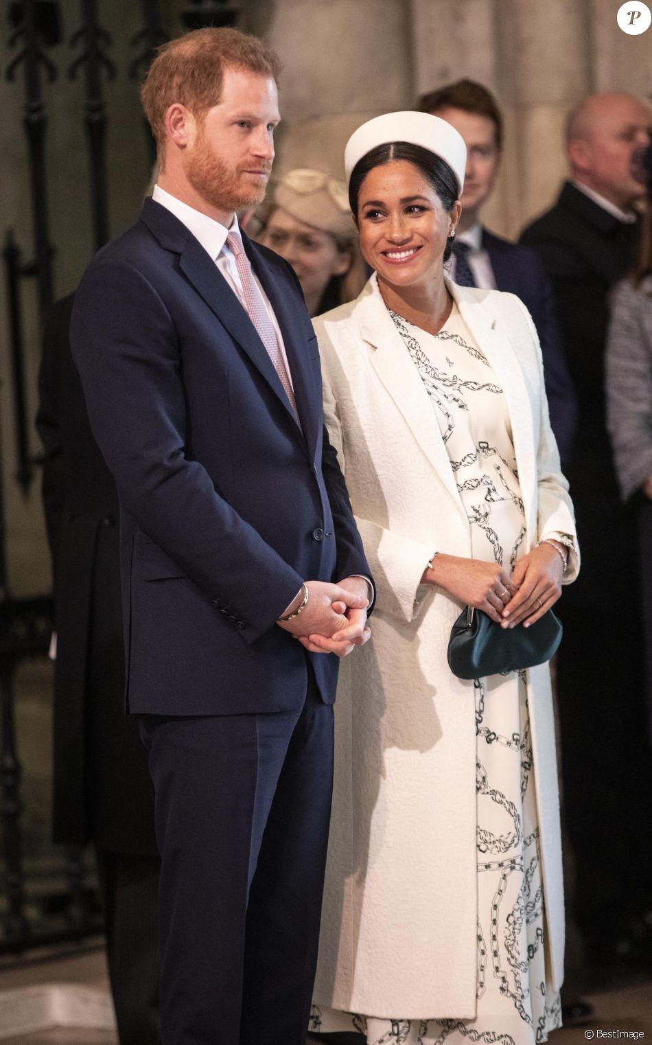 Le prince Harry et Meghan Markle, duchesse de Sussex, enceinte, à la messe en l'honneur de la journée du Commonwealth à l'abbaye de Westminster à Londres, le 11 mars 2019.