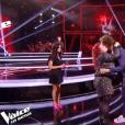 """Jenifer sublime dans """"The Voice 8"""" (TF1) en petite robe noire et escaprins rose fluo, samedi 4 mai 2019."""