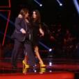 """Les chaussures de Jenifer dans """"The Voice"""" le 27 avril 2019. Elles sont sginées Maison Casade et valent 550 euros."""