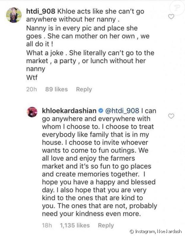 Khloé Kardashian répond à ses détracteurs sur Instagram, mai 2019