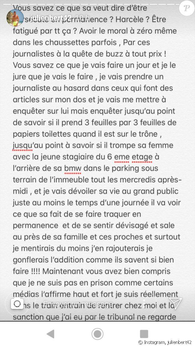 Julien Bert réagi à l'annonce de sa condamnation - 9 mai 2019, sur Instagram