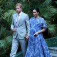 Le prince Harry, duc de Sussex et Meghan Markle, duchesse de Sussex, enceinte, rencontrent le roi du Maroc et son fils, le prince héritier du Maroc, Moulay Hassan à sa résidence à Rabat, lors d'une audience privée in Rabat le 25 février, 2019.