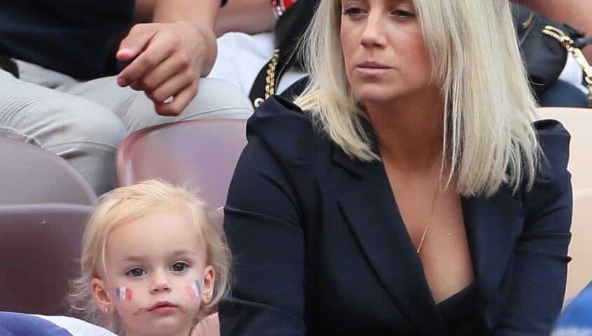 Erika Choperena (femme d'Antoine Griezmann) et sa fille Mia - Célébrités dans les tribunes lors du match de coupe du monde opposant la France au Danemark au stade Loujniki à Moscou, Russia, le 26 juin 2018.