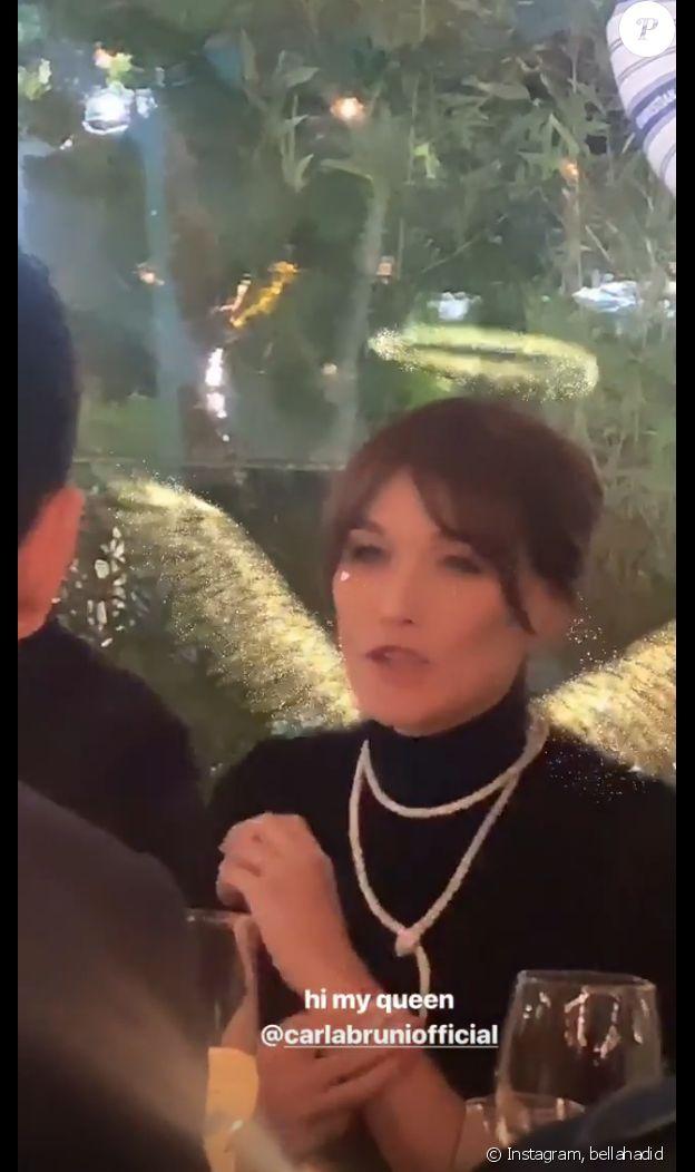 Carla Bruni sur la Story Instagram de Bella Hadid, le 15 mai 2019 à Cannes.