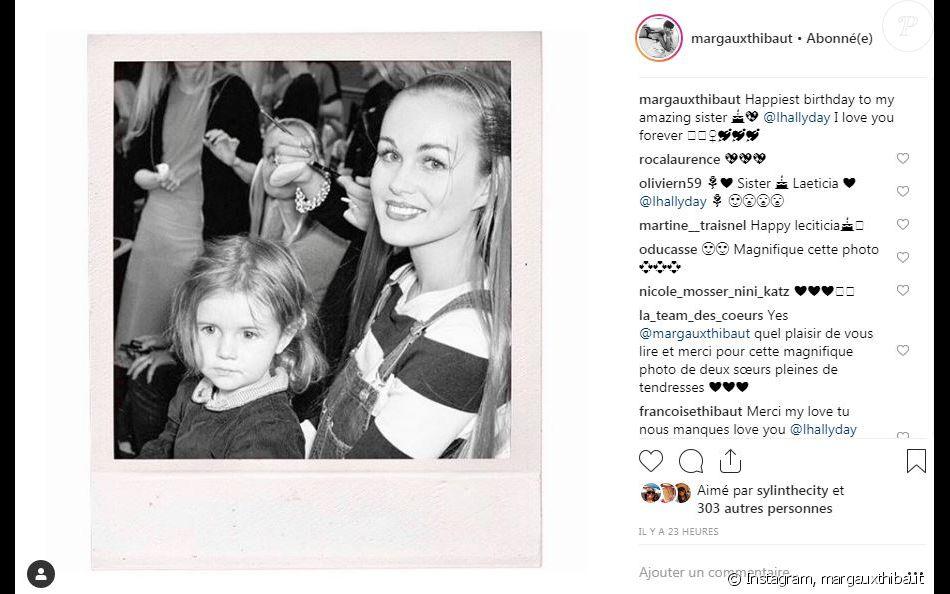 Margaux Thibaut souhaite un joyeux anniversaire à sa demi-soeur Laetitia Hallyday à l'occasion de ses 44 ans. Instagram, le 18 mars 2019.