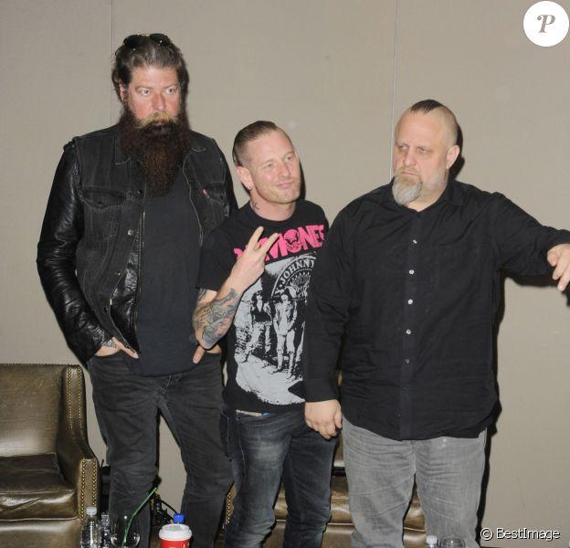 Le groupe Slipknot (Shawn Crahan, Jim Root, Corey Taylor) donne une conférence de presse pour promouvoir le nouveau festival Knotfest à Mexico, le 3 décembre 2015.
