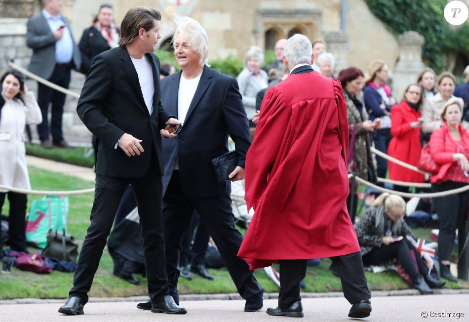 David Emanuel et son compagnon David Byrne (à gauche) au mariage de la princesse Eugenie d'York et Jack Brooksbank au château de Windsor le 12 octobre 2018.
