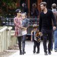 Exclusif - Kourtney Kardashian, son compagnon Scott Disick et leurs enfants Mason and Penelope Disick ont passé la journée à Paris, le 27 mai 2014.