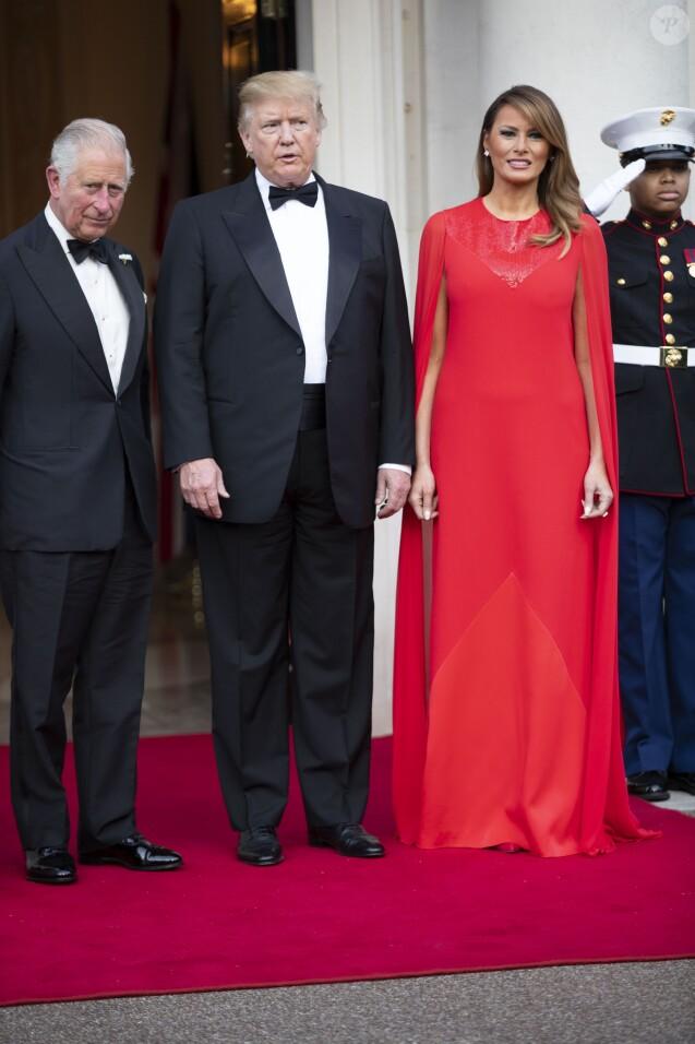 Donald Trump et sa femme Melania Trump avec le prince Charles - Dîner en l'honneur du président D. Trump à la Winfield House, Londres, lors de sa visite officielle au Royaume Uni, le 4 juin 2019.