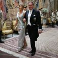 La princesse Madeleine de Suède et son mari Christopher O'Neill lors du dîner d'Etat en l'honneur de la visite officielle du président de la Corée du Sud Moon Jae-in, le 14 juin 2019 au palais royal à Stockholm.