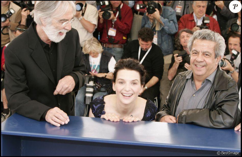 """Daniel Auteuil, Juliette Binoche et Maurice Bénichou présentent """"Caché"""" de Michael Haneke au Festival de Cannes le 14 mai 2005."""